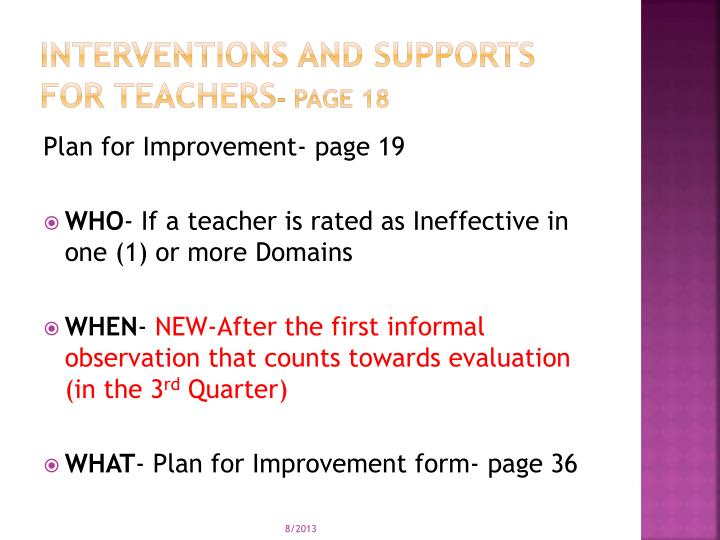 Interventions and supports for teachers