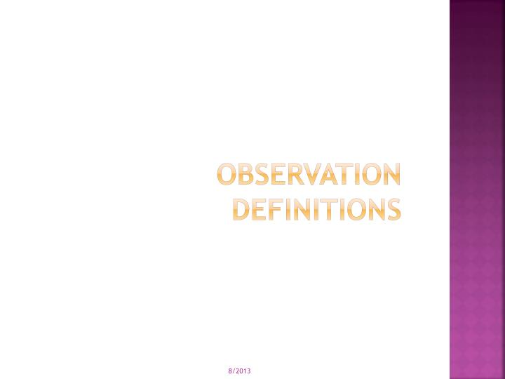 Observation Definitions