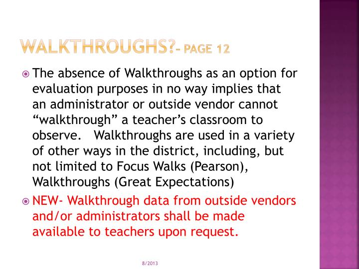 Walkthroughs?