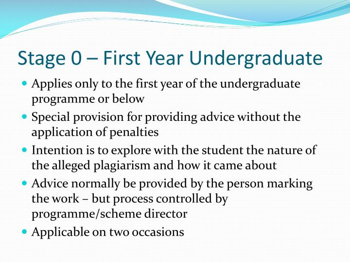 Stage 0 – First Year Undergraduate