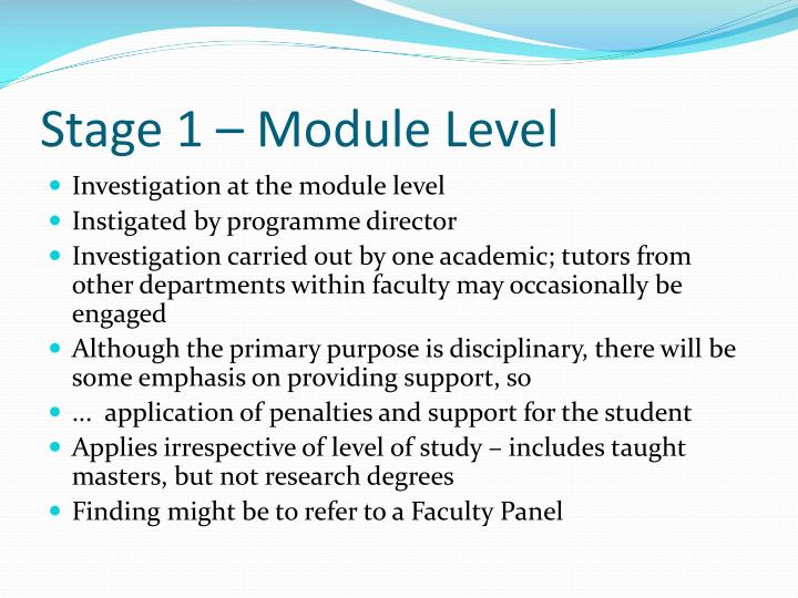 Stage 1 – Module Level