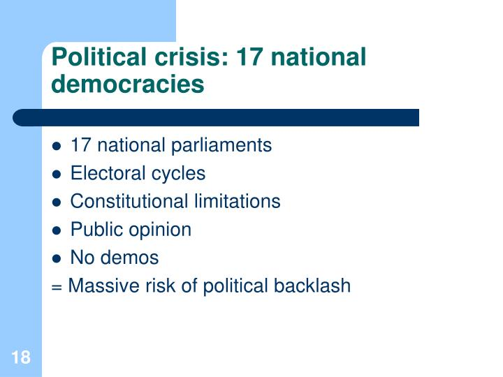 Political crisis: 17 national democracies
