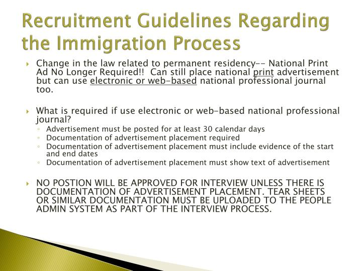 Recruitment Guidelines Regarding the Immigration Process