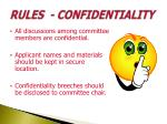rules confidentiality