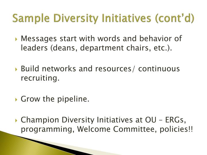 Sample Diversity Initiatives (cont'd)