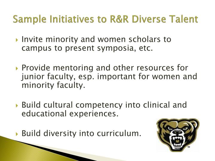 Sample Initiatives to R&R Diverse Talent