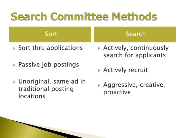 Search Committee Methods