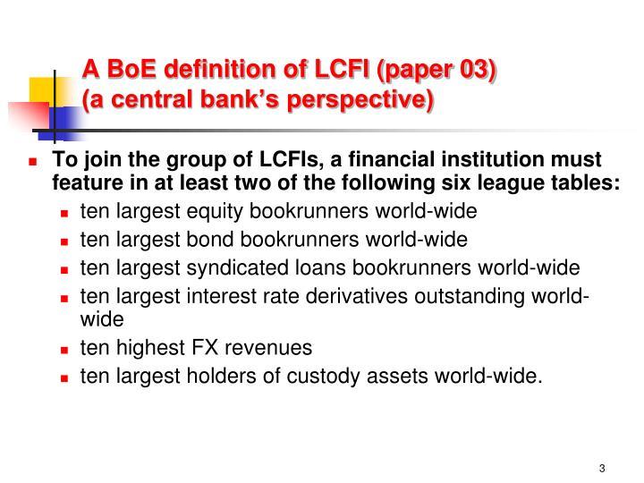A BoE definition of LCFI (paper 03)
