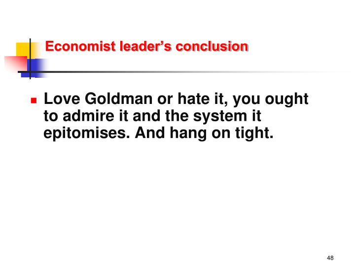 Economist leader's conclusion