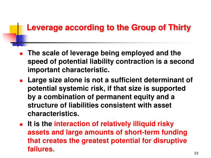 Leverage according to the Group of Thirty