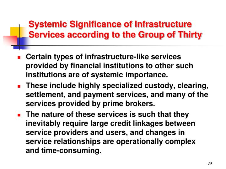 Systemic Significance of Infrastructure Services according to the Group of Thirty