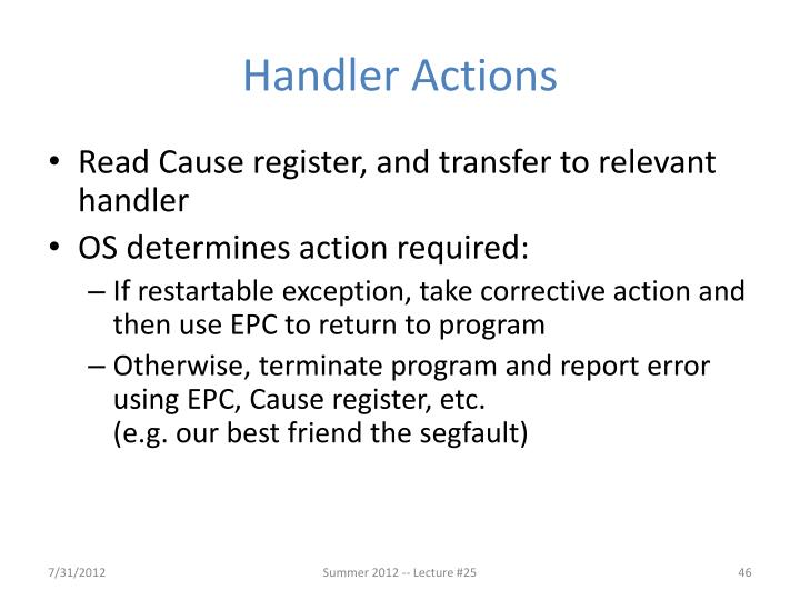 Handler Actions