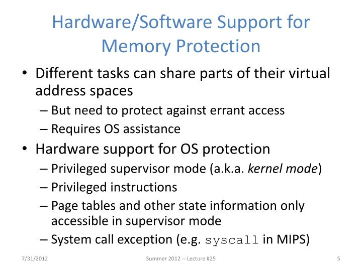 Hardware/Software Support for