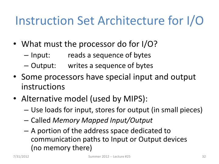 Instruction Set Architecture for I/O
