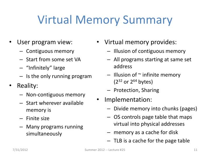Virtual Memory Summary