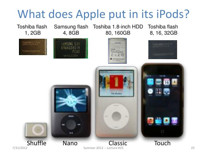 What does Apple put in its iPods?