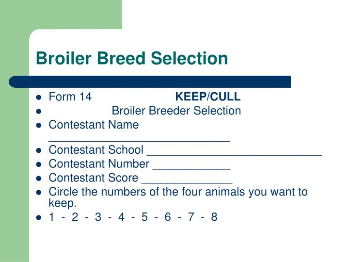 Broiler Breed Selection