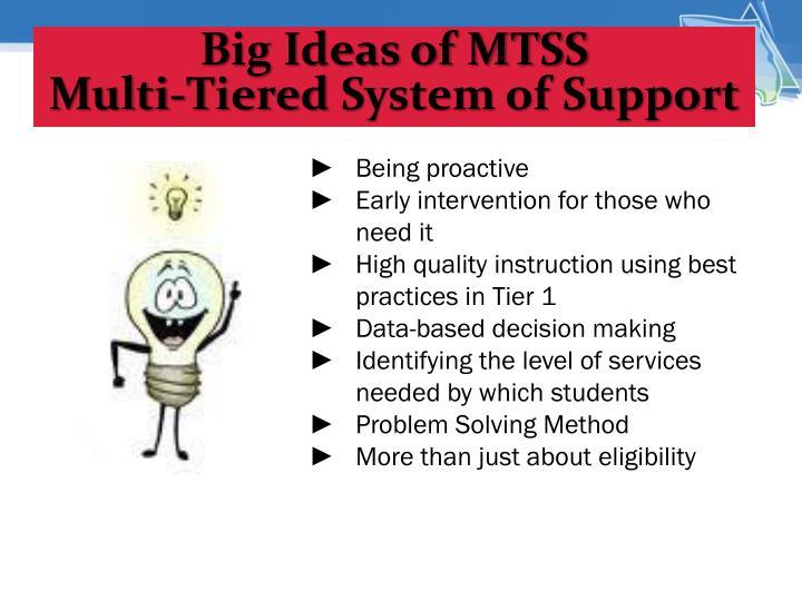 Big Ideas of MTSS