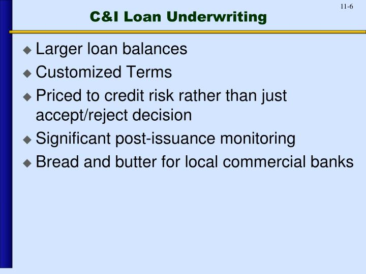 C&I Loan Underwriting