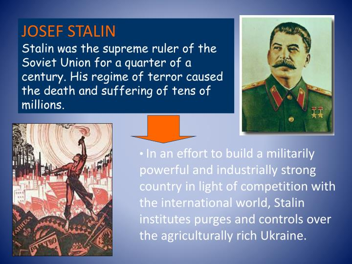 In an effort to build a militarily powerful and industrially strong country in light of competition with the international world, Stalin institutes purges and controls over the agriculturally rich Ukraine.