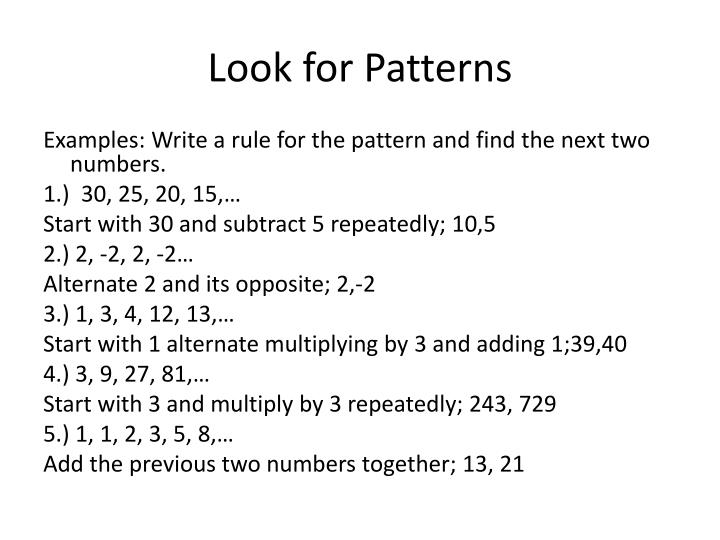 Look for Patterns