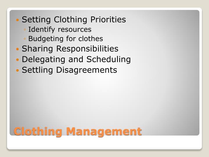 Setting Clothing Priorities
