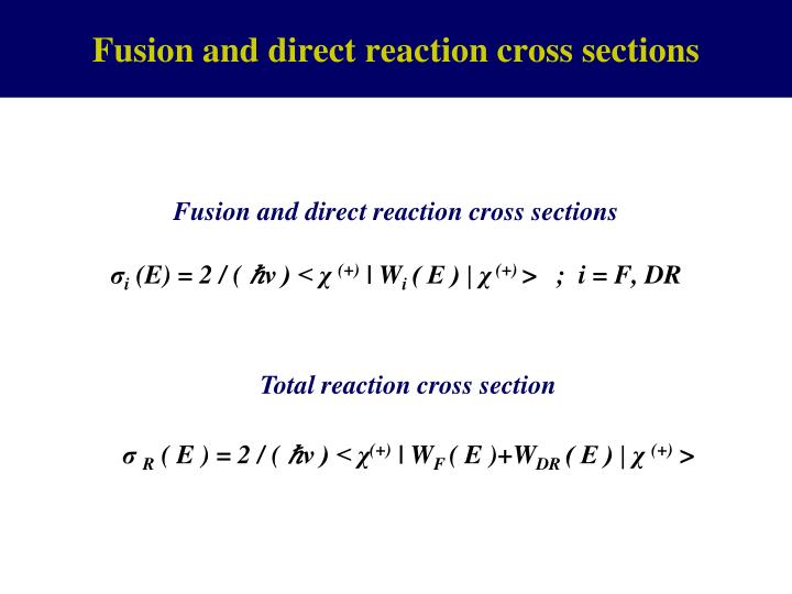 Fusion and direct reaction cross sections