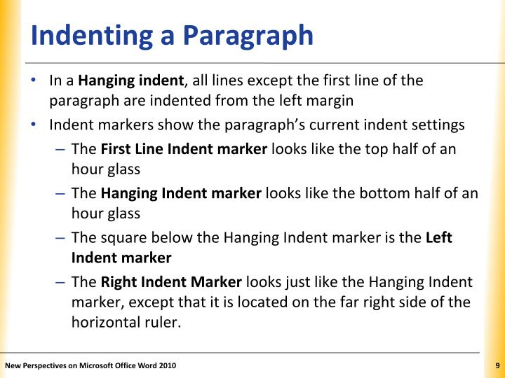 Indenting a Paragraph