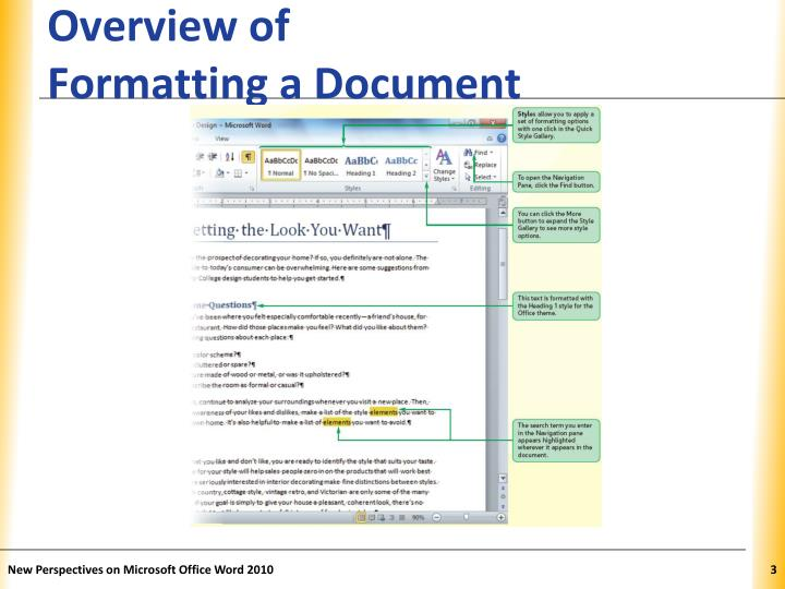 Overview of formatting a document1