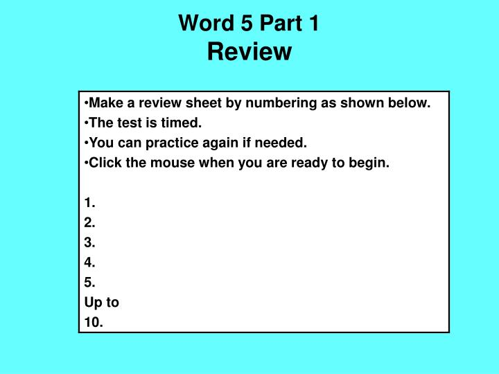 Word 5 part 1 review