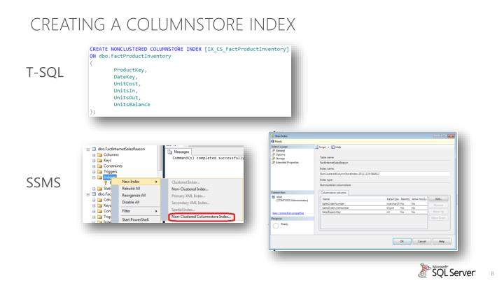 Creating a columnstore index
