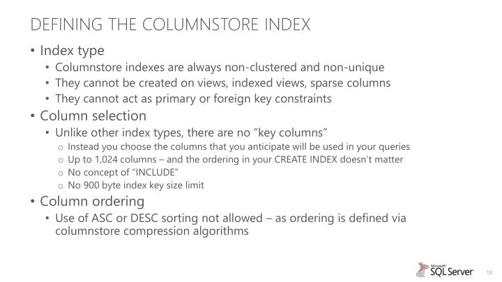Defining the Columnstore Index
