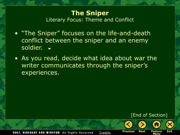 the conflicts between friends or family in the sniper by liam oflaherty
