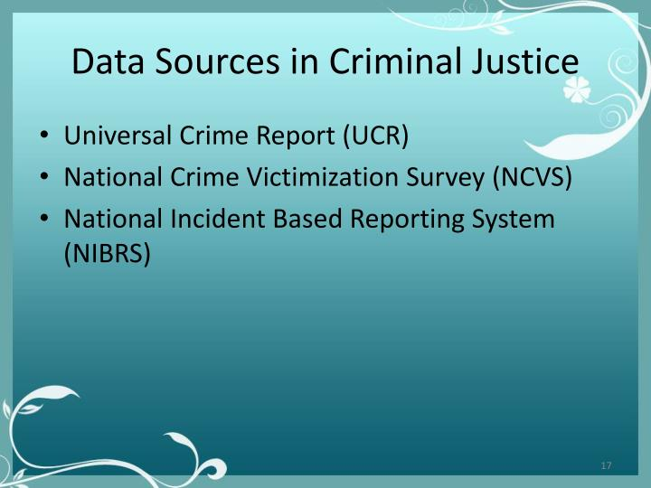 Data Sources in Criminal Justice