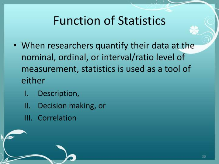 Function of Statistics