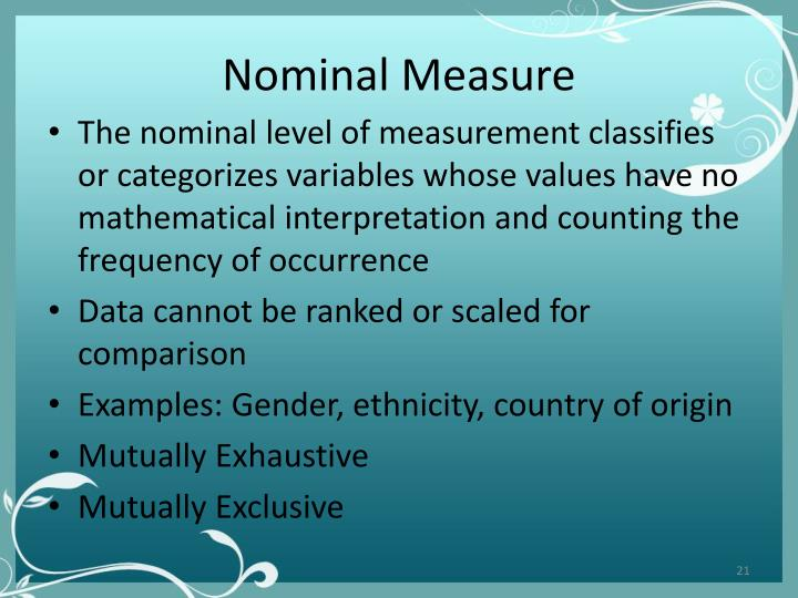 Nominal Measure