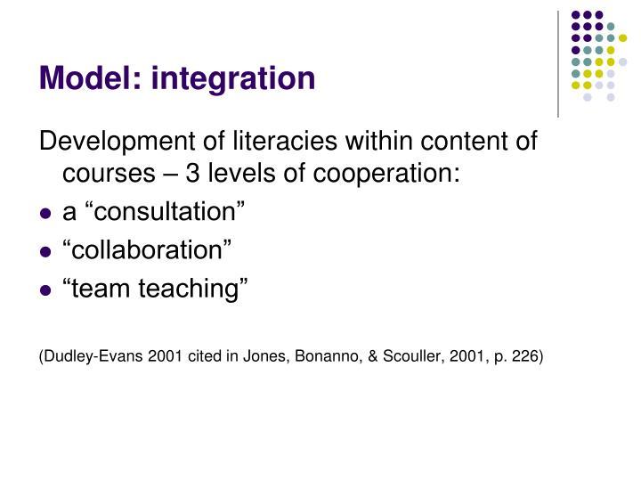 Model: integration