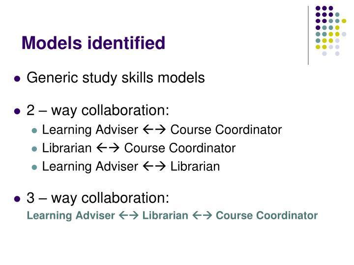 Models identified