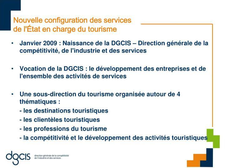 Nouvelle configuration des services de l'État en charge du tourisme
