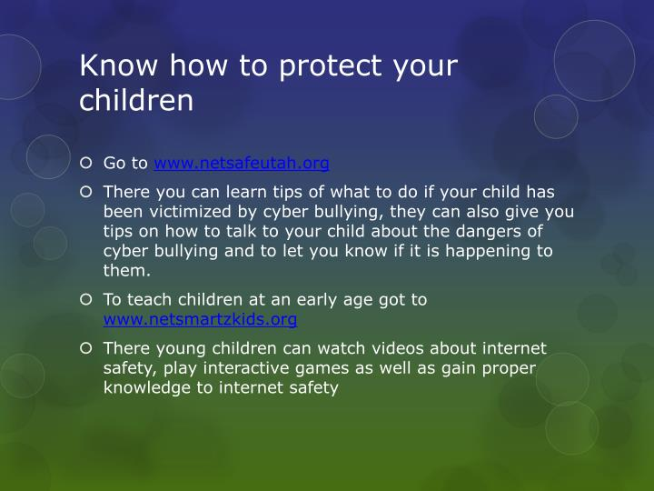 Know how to protect your children