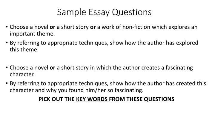 Sample Essay Questions