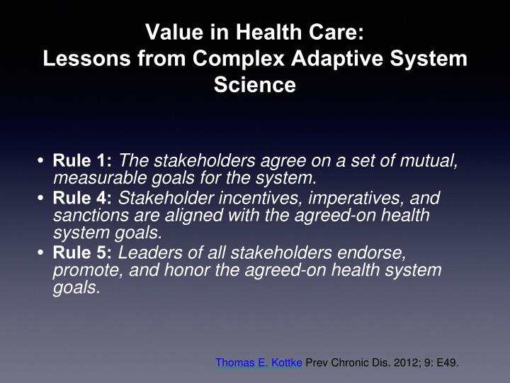 Value in Health Care: