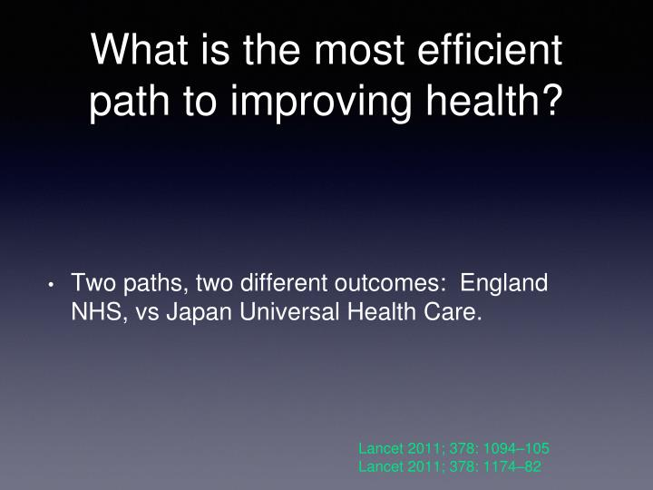 What is the most efficient path to improving health?