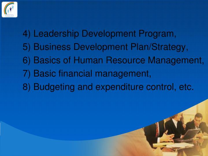4) Leadership Development Program,