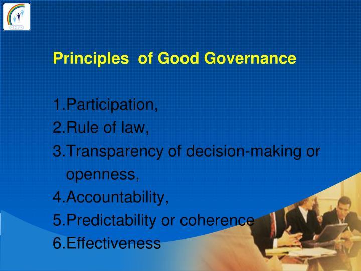 Principles  of Good Governance