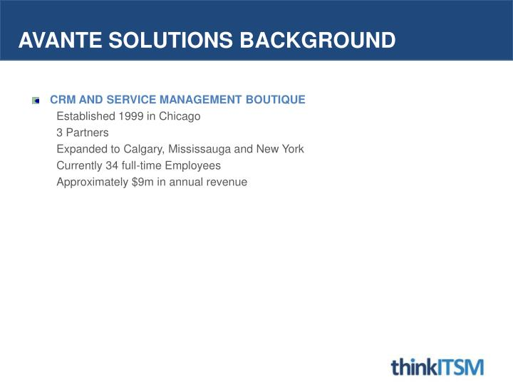 Avante solutions background