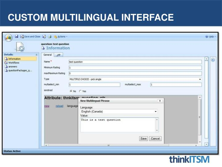 Custom Multilingual interface