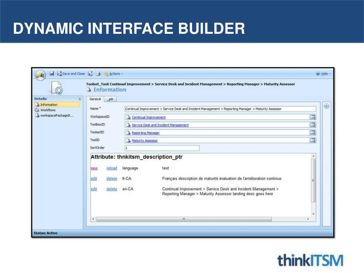 Dynamic interface builder