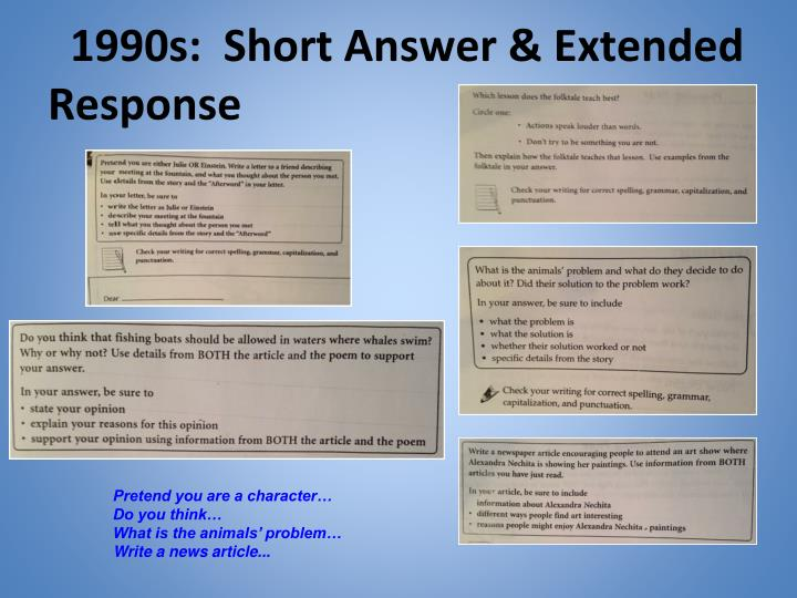1990s:  Short Answer & Extended Response