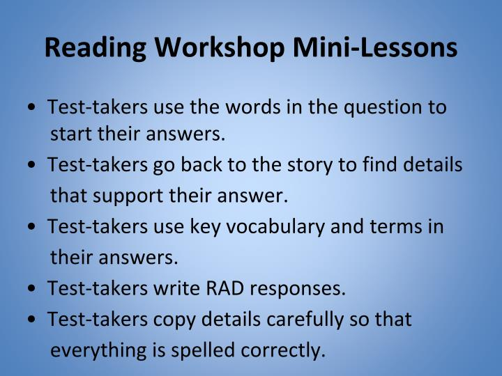 Reading Workshop Mini-Lessons
